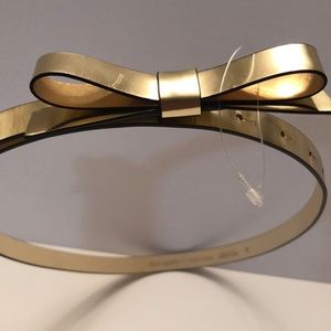 Kate Spade gold leather belt with bow